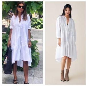 Zara white cotton poplin midi dress medium